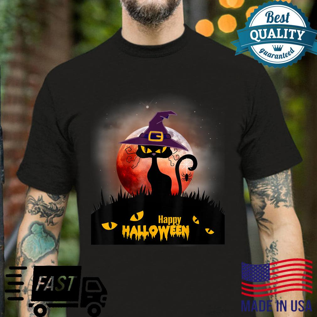 Halloween Scary Black Cat With Witch Hat, Halloween 2021 Shirt Masswerks Store
